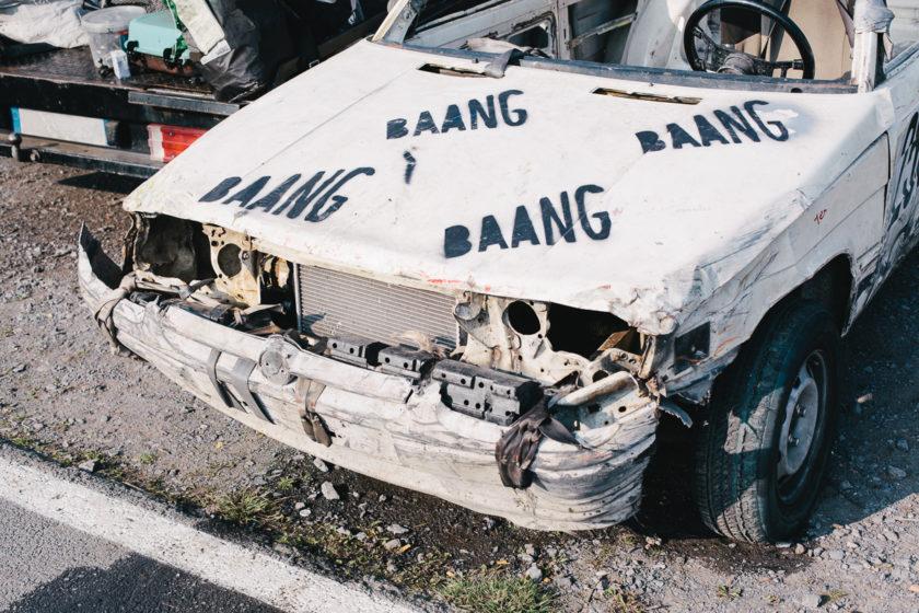 Hood Of Banger Race Car. Warneton.