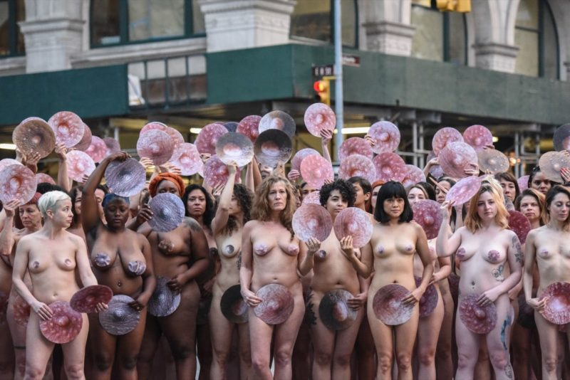 Photographer Spencer Tunick Stages One Of His Large Scale Group Nude Shoots In New York City