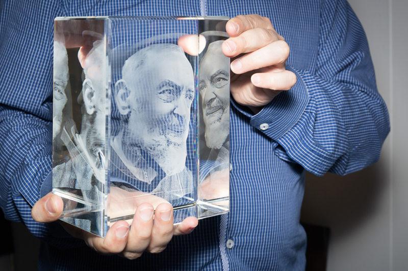 Besides Faith A 3D Figure Of Saint Pio In A Glass Block